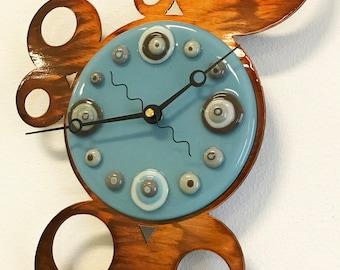 Fused Glass/Metal circles clock