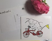 Waterbear on a Bicycle Postcard // Pack of 5