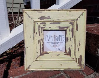 4 x 4 YELLOW old vintage wood picture frame