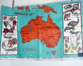 LINEN Tea Towel - Australia Souvenir - Hand Printed - Fast Colors.