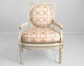 french NEO CLASSICAL cream cane seat accent chair