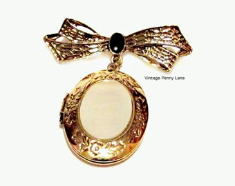Vintage Mother of Pearl Locket Brooch, Gold Charm / Bow