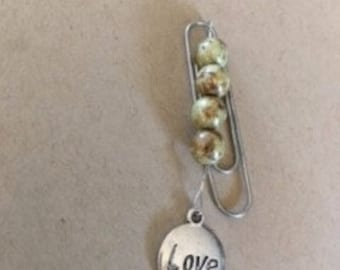 """Paperclip """"Love"""" Charm, Glass Beads, Bookmark, Reader Reading Book Lover Gift"""
