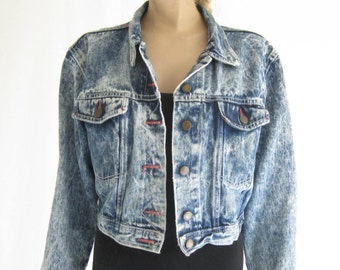 Vintage 80's Acid Wash Denim  Cropped Jacket. Dusted Denim Made in The Shade