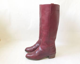 Vintage 70's Burgundy Leather Campus Boots. Size 8