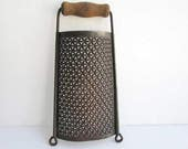 Vintage 1920's  Kitchen Cheese, Tin Food Grater, with Wooden Handle  Kitchen Use, Wall or Shelf Decor, Old Surface, Primitive Look Grater