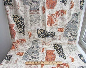 1 Yard of Recycled Vintage 1990 Dynasty Prints Drapery, Upholstery Fabric, Unused, Linen Blend, Earth Tones in Browns, Gray, Black, Unused