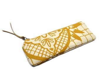 pencil case • zipper pouch • mustard yellow - geometric floral print - hand screenprinted pencil case