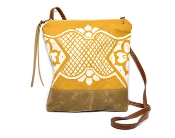 weekdayer • crossbody bag - waxed canvas • mustard yellow geometric floral print - brown waxed canvas - gifts under 50 • cross body bag