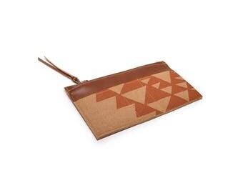 zip wallet • coin purse zipper wallet • geometric print - orange and brown - hand screenprinted triangle print - slim wallet - summer style