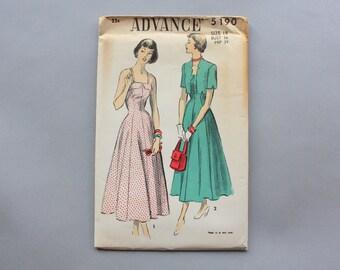 Vintage Dress Pattern / 1940s Sundress Sewing Pattern / Uncut 50s Advance Full Skirt Dress and Jacket Pattern sz 18 waist 30 Factory Fold