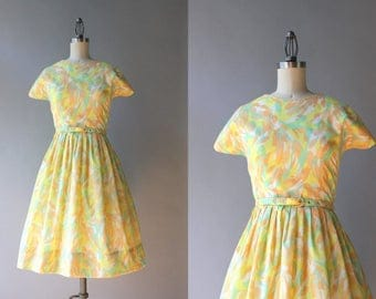 Vintage 60s Dress / 1960s Spring Day Dress / Early 60s Golden Yellow Nude and Apricot Full Skirt Dress M medium