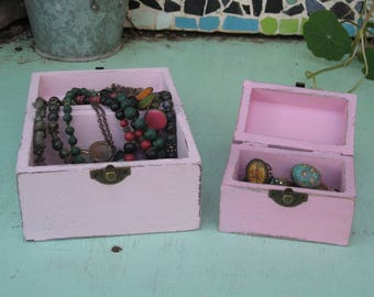 """Pink """"Shabby Chic"""" Wooden Jewelry Box + Small One As A Gift"""
