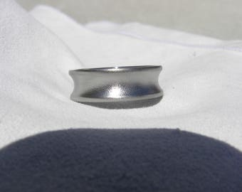 Titanium Ring, Wedding Band, Concave Cut, 7mm size 8, Clearance Ring