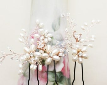 Set of Three Rose Gold Bridal Hair Pins, Freshwater Pearl Flower Hair Pins, Flower Headpiece, wedding Hair Fascinator