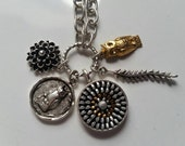 Recycled Zipper Charm Necklace