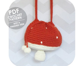 Adorable Mori Girl Mushroom Toadstool Drawstring Crossbody Bag - PDF crochet pattern - INSTANT DOWNLOAD