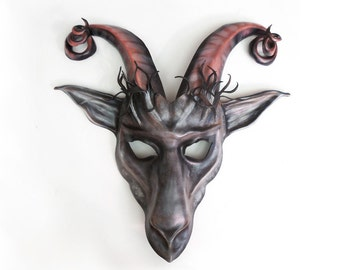 Leather Goat Animal Creature Leather Mask with Curled Horns  dapple grey and red Krampus Baphomet Devil Forest Creature Ram
