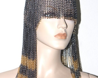 Cleopatra's armor black gold chain harness jewelry headdress festival fashion belly dance costume
