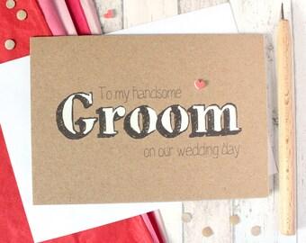 Groom Card. Handmade Wedding Card. Husband Card. Groom Wedding Day Card. Card for my Groom. Wedding Day Card for Groom. Rustic Wedding Card