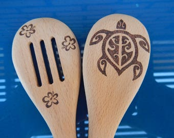 Wooden Spoon Set, Honu, Hibiscus, Pyrography