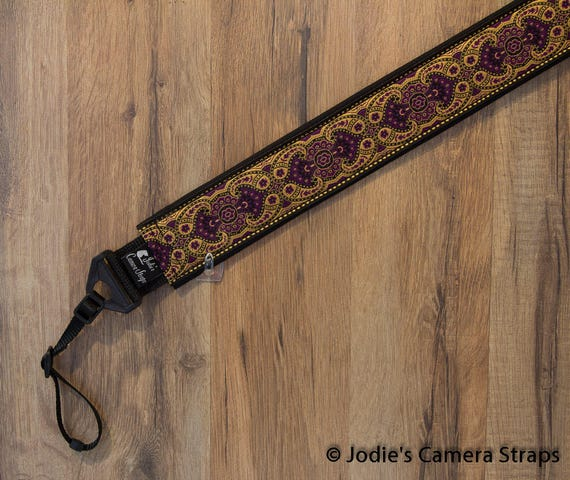 "Custom Padded Camera Strap 2"" Wide Paisley in Purple and Gold DSLR SLR P&S"