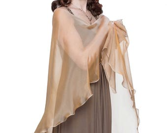 40% Off: Caramel - Cream Formal Sheer Silk Scarf - Wrap