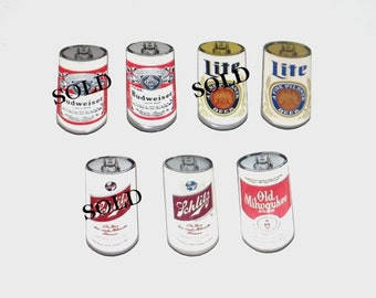 1970s vintage pins / 70s vintage beer pins / enamel / Vintage Beer Can Pins