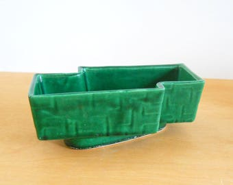 Vintage Dark Green Planter • Modern Geometric USA Planter • Vintage American Pottery