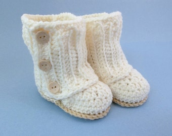 Baby Wrap Booties Natural Crochet Booties 6 Month Size Baby Shoes