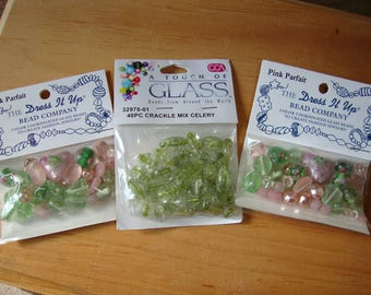 glass jewelry beads floral designs and cracked glass crafts supplies pink and green 3 packages lot of beads