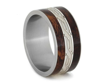 Sterling Silver Celtic Knot Ring with Honduran Rosewood Burl Complement in Titanium Band