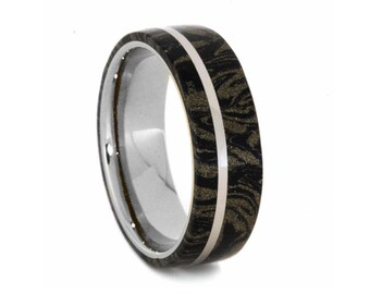 Black and Gold Mokume Gane Ring, 14k White Gold Wedding Band With A Platinum Pinstripe