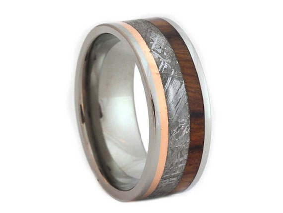 Gibeon Meteorite Ring, Titanium Wedding Band with Meteorite, Copper and Ironwood Elements, Waterproof Ring