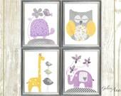 Purple yellow and gray Nursery Decor baby girl nursery wall art kids room decor Turtle Owl giraffe nursery elephant nursery Set of 4 prints