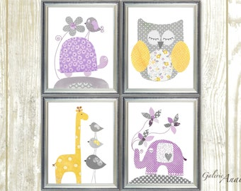 Purple yellow and gray Nursery Decor baby girl nursery wall art kids room decor Turtle Owl giraffe nursery elephant nursery Set of 4 prints
