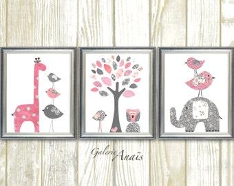 Baby Girl Nursery Decor Elephant nursery Art Giraffe Home Décor Girl's room decor Gray pink Nursery Kids wall art - Set of 3 prints