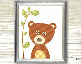 Baby Boy Nursery Decor Nursery Art  nursery wall art  woodland nursery  forest nursery - kids bear baby wall art - Nounours print