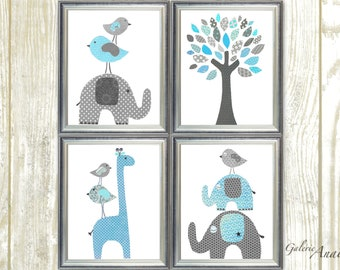 Blue and gray Zoo Nursery Art Home Decor, Baby Boy Nursery art, Elephant, giraffe nursery wall art baby nursery decor, Set of 4 prints