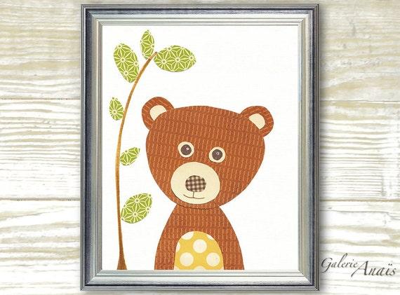 Baby Boy Nursery Decor Nursery Art  nursery wall art  woodland nursery  forest nursery - kids bear baby wall art - Nounours print