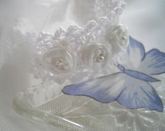 White Bridal Jewelry Bracelet Handmade Thread Crochet Silk Ribbon Embroidered One-Of-A-Kind Bracelet handmade