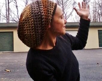 DREAD HAT Natural Handmade Crochet Hat Rasta Hat Wool Hat Slouch Hat Dreadlock Tam Dread *Earthy Mix*