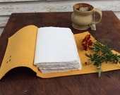 Yellow Leather Journal / notebook with old world torn edge pages by Binding Bee