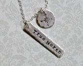 True North Compass Hand Stamped Sterling Silver Charm Necklace, Wanderlust Necklace