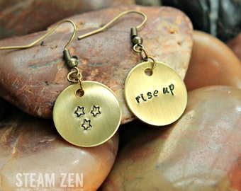 "Hamilton ""Rise Up"" Earrings - Hand stamped One of a Kind Dangling Earrings- Hamilton Fan - Hamilfan Gift"