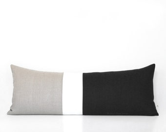 Black Colorblock Pillow Cover, Bedding, 14x35 Lumbar Pillow, Decorative Pillows by JillianReneDecor, Extra Long Color Block, Minimal