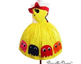 Summer sALE Custom in your size Pac man Mrs pacman Styled Dress in Cotton