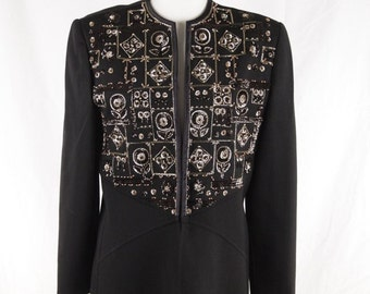ANDRE LAUG Vintage Black Embellished EVENING jacket beads and sequins