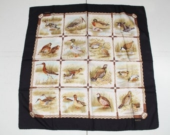 Authentic GUCCI Italian VINTAGE Silk SCARF Black Border w/ birds
