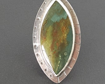 ON SALE---Swap Bog Jasper Ring, green and silver, sterling silver ring, size 8.5, gary green ring, boho ring, bohemian, large ring, green